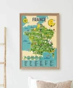 Poster éducatif + 60 stickers – Carte de France (6-12 ans)