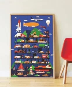 Poster géant + 44 stickers – Véhicules (3-7 ans)
