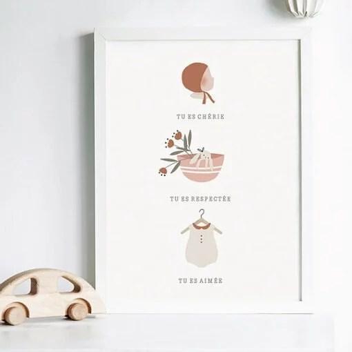 Affiche A4 Tu es aimé Atelier Oranger – Fille