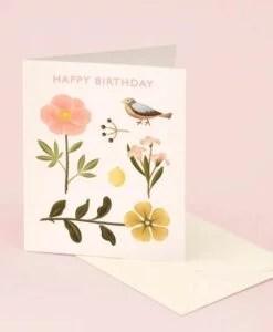 Carte anniversaire Bird Botanical