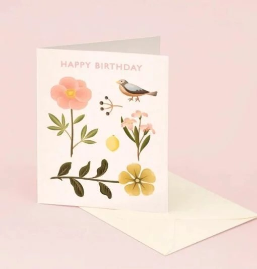 Carte anniversaire Bird Botanical
