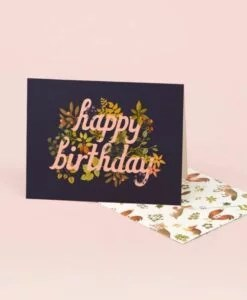 Carte anniversaire Botanical Navy