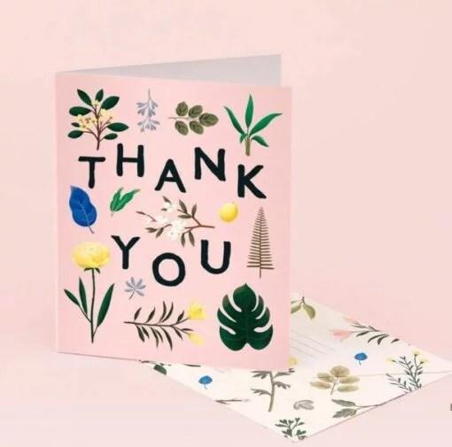 Carte remerciement Botanical – Rose