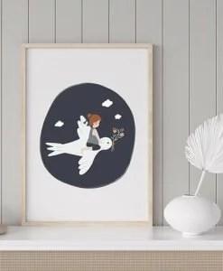 Affiche A4 L'enfant et l'hirondelle Atelier Oranger
