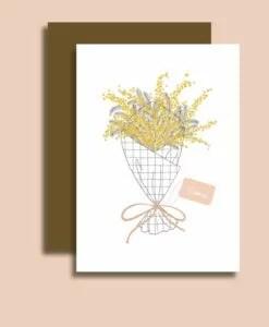 Carte bisous Bouquet mimosa Minimel