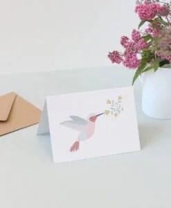 Carte message Colibri