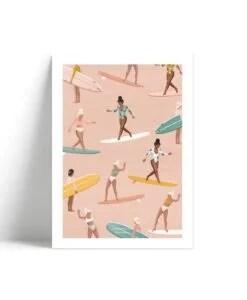 Affiche Surf pattern Les Rideuses A4