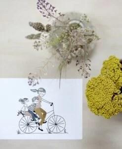 Carte Balade À Vélo Fille Et Garçon