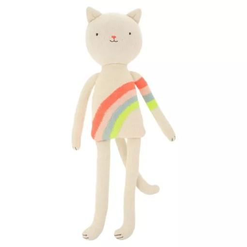 Peluche chat pull arc-en-ciel Meri Meri