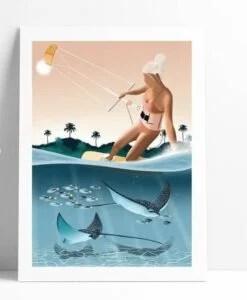 Affiche Kite Surf Les Rideuses A4