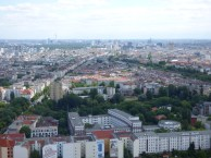 The view of downtown Berlin from a radio tower.