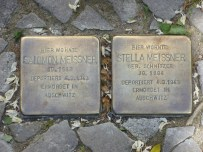 "These ""Stumbling Stones"" are scattered at homes throughout Berlin to remember and honor the lives of Jewish people who were murdered during the Holocaust. These stones are located at the house of Salomon and Stella Meissner, both of whom were murdered at Auschwitz in 1943."