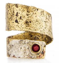 Inel din argint si alama cu piatra de coral rosu Eneada