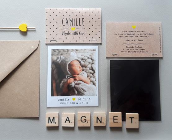 faire part de naissance magnet kraft photo magnet polaroid