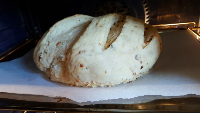Onion Bread in the oven
