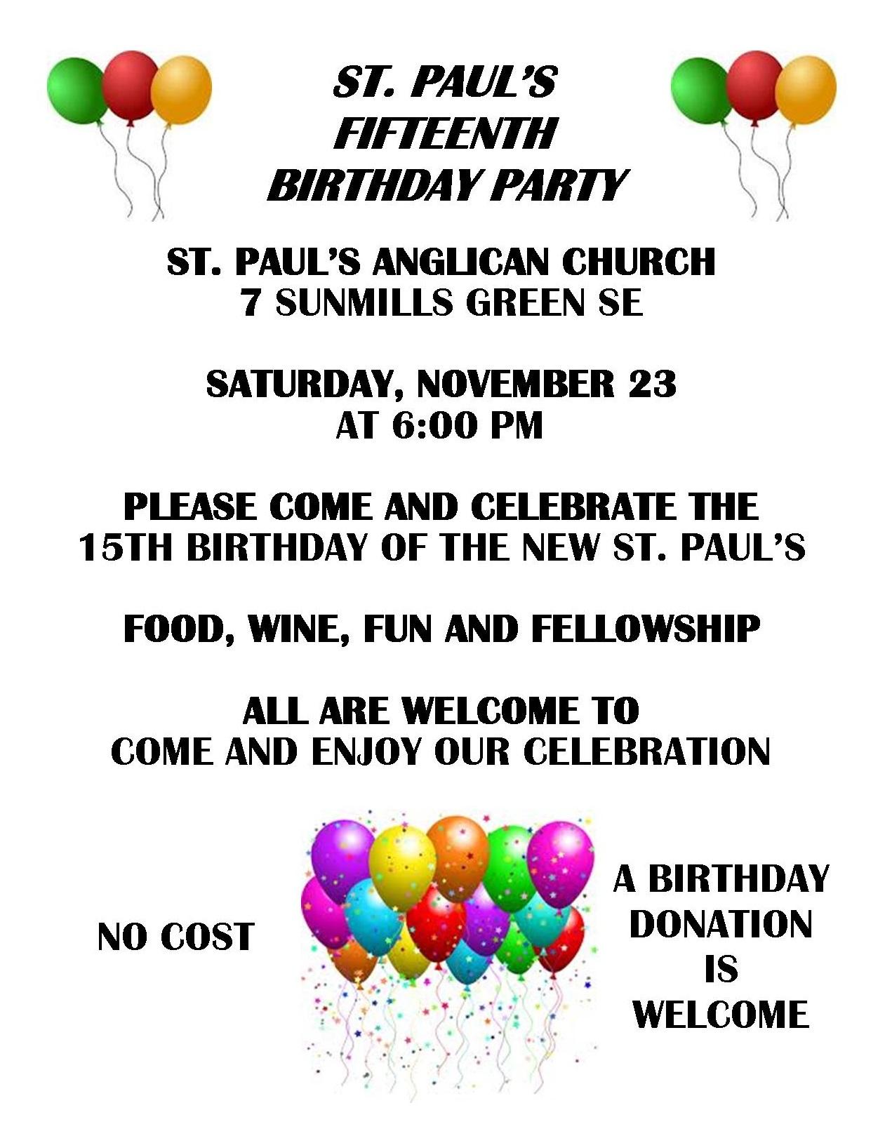 fifteenth birthday party on november 23