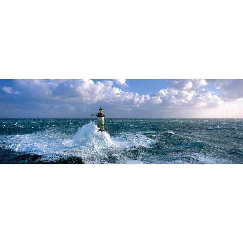 Quadro Faro in Tempesta 2 Mare Stampa su Mdf o Tela Swarovski Pannello Casa Foto