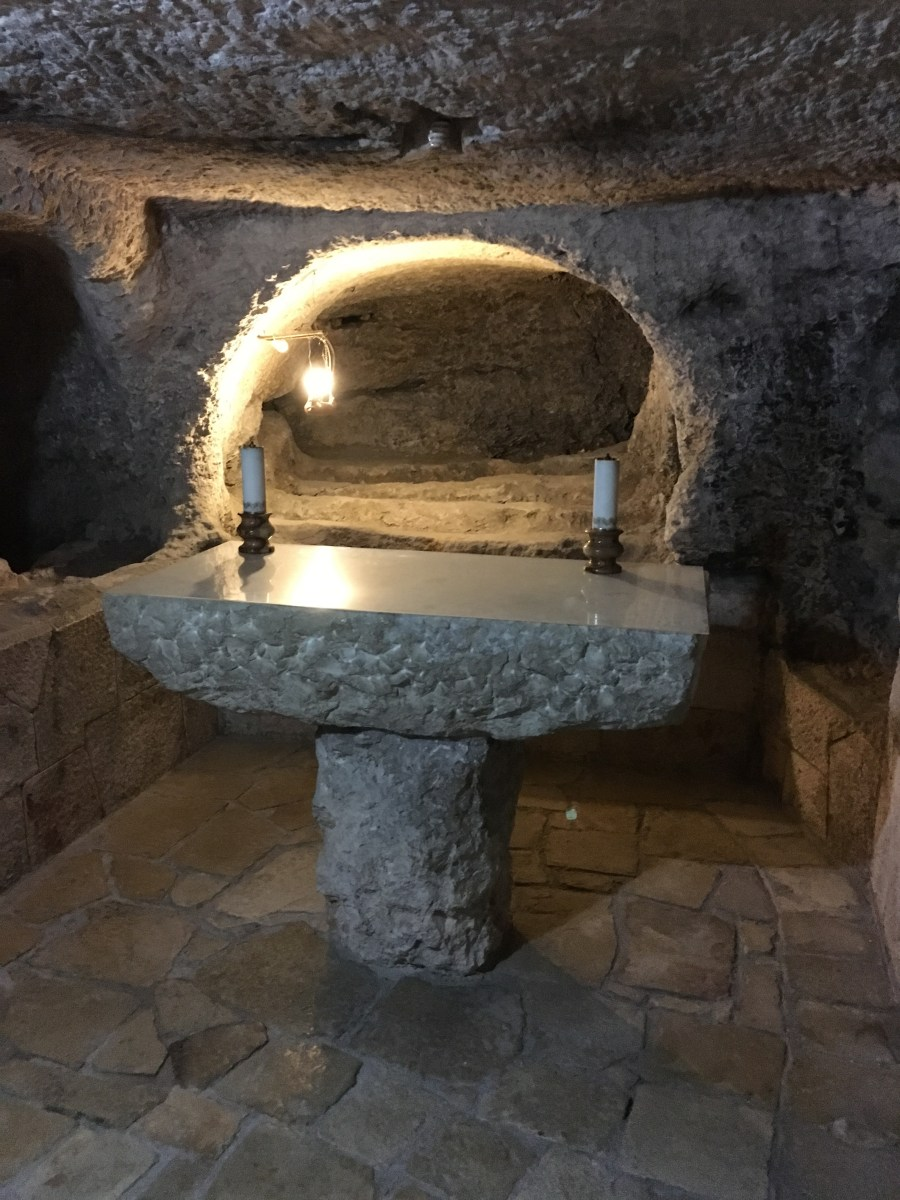 Grave where infant bodies were found beneath the church of the Nativity
