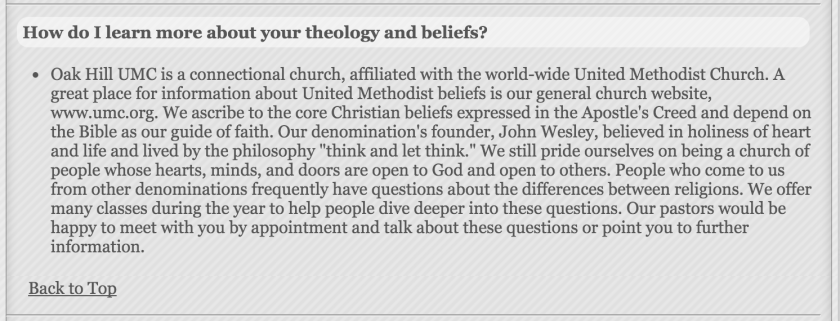 Oak Hill UMC Statement of Beliefs