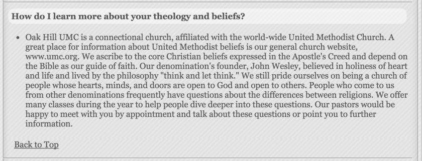Oak Hill UMC Statement of Beliefs