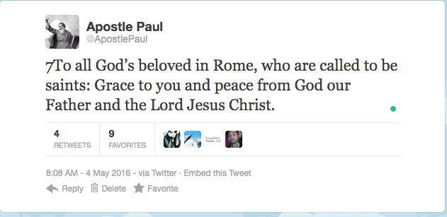 7To all God's beloved in Rome, who are called to be saints: Grace to you and peace from God our Father and the Lord Jesus Christ.