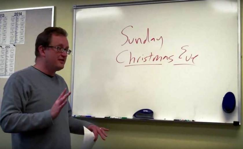 Me leading a Christmas worship planning meeting... seemingly forever ago
