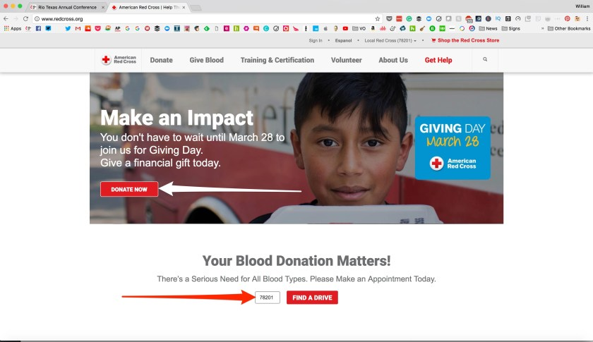 The Red Cross's website offers a clear call to action