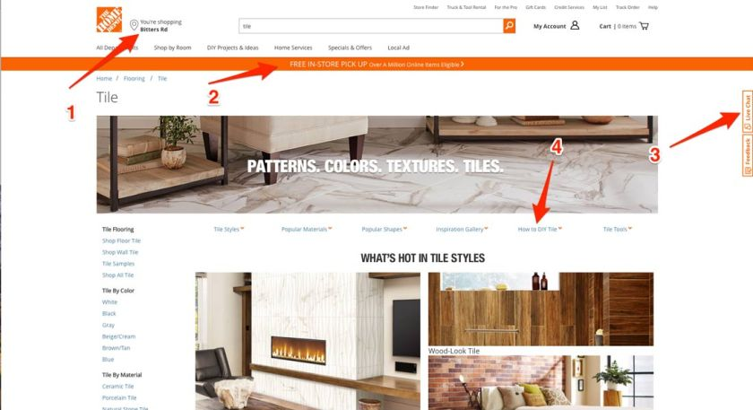 The Home Depot Tile Search