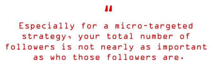 Especially for a micro-targeted strategy, your total number of followers is not nearly as important as who those followers are.