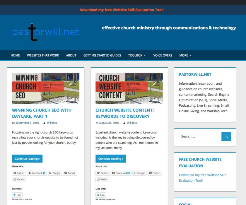 This is my blog, pastorwill.net. If you look close you will see that I love keywords that help my search engine optimization - SEO