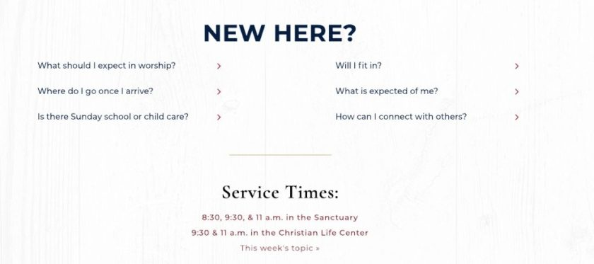 Your church website content should include information on what visitors should expect.