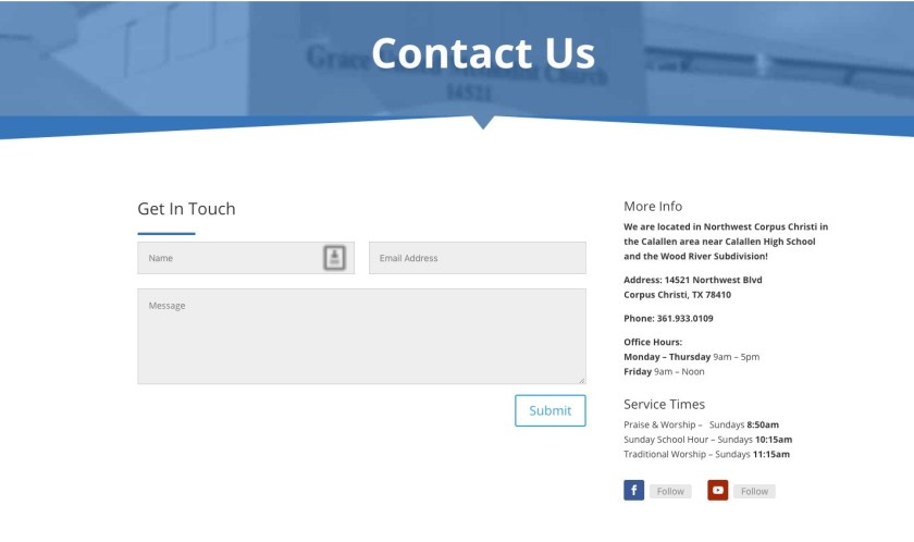 Make sure your church website content includes multiple ways to contact you.