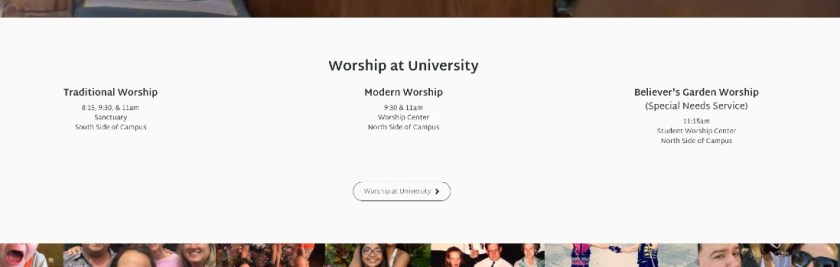 Worship times and location are an essential part of your church website content.
