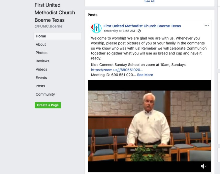Recorded online worship from First UMC, Boerne, Texas