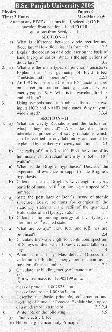 B.Sc Physics (Paper C)