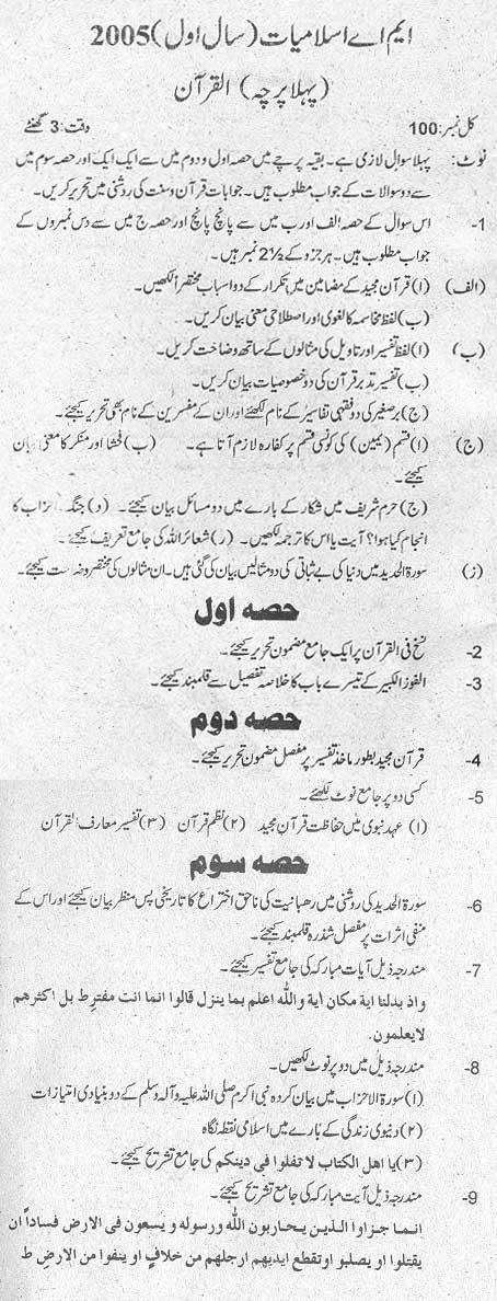 M.A Islamiat (Al Quran) Part I