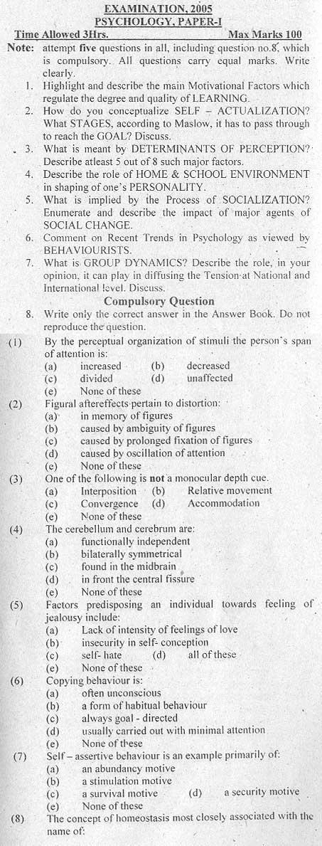 CSS (Psychology) Paper I