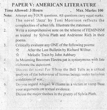 M.A Eng (American Literature) Part I