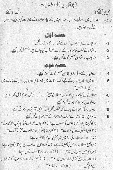 M.A Urdu (Urdu Lasaniat) Part II