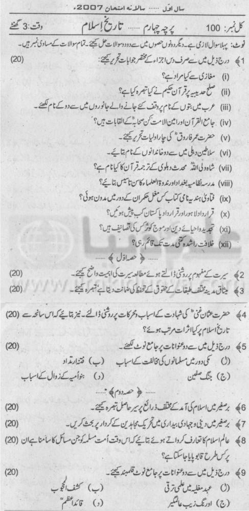 MA Islamiat Part I Paper IV Punjab University 2007