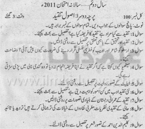 MA Urdu Paper II Part II Punjab University 2011