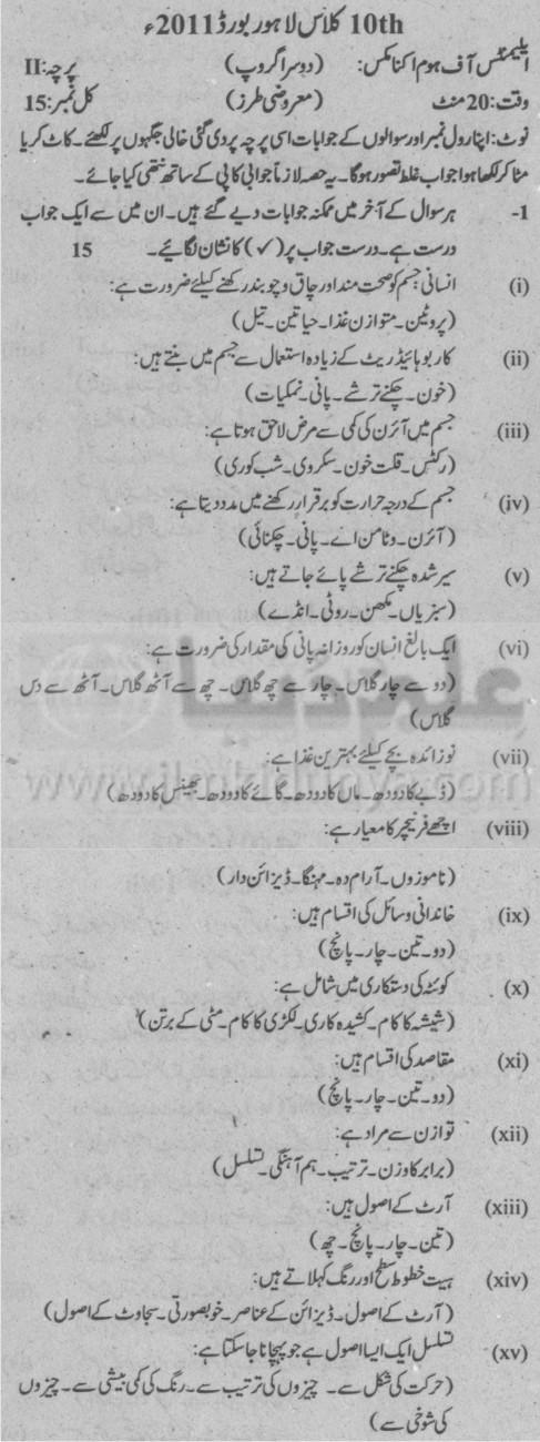 10th Class Home Economics Objective Group 2 Urdu Medium