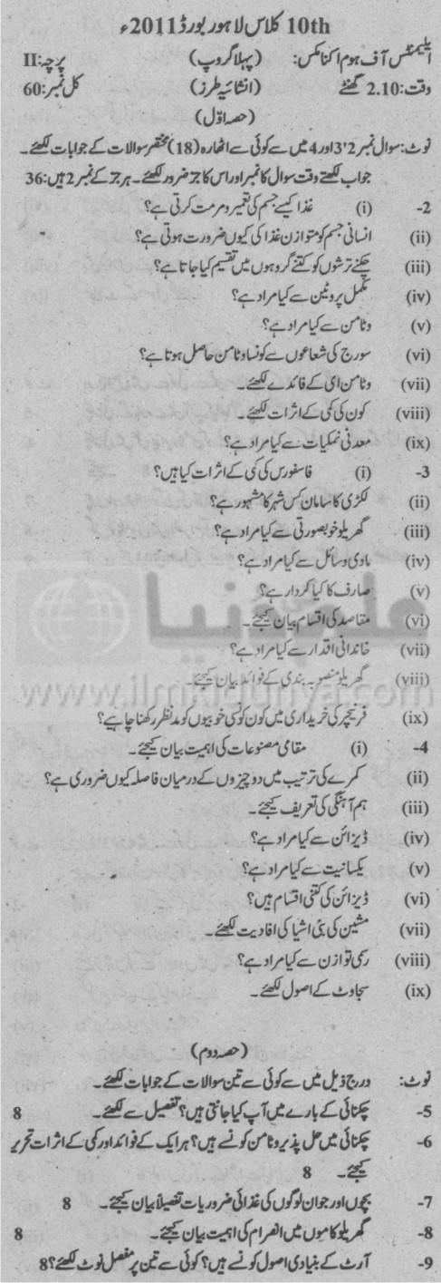 10th Class Home Economics Subjective Group 1 Urdu Medium