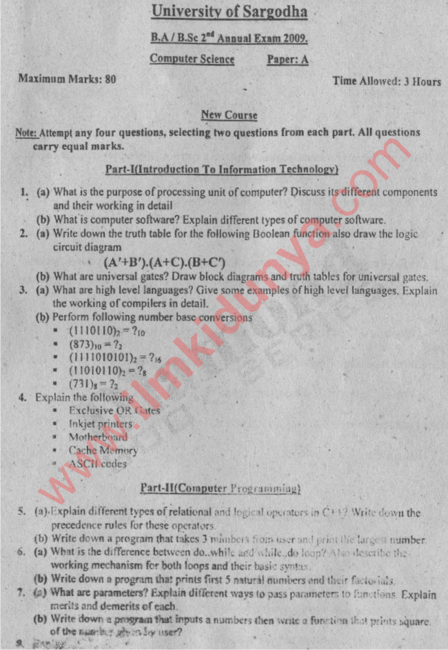 BA/BSc Computer Science Paper A Sargodha University 2009