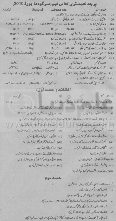 9th Class Chemistry Group 1 Sargodha Board 2010 Urdu