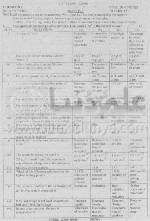 DG Khan Board Chemistry Objective 1st Year Science 2009