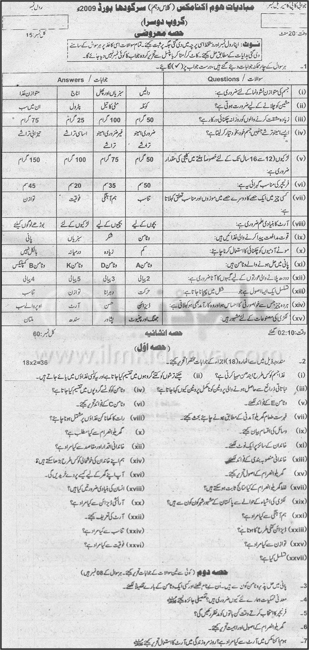 10th Class Home Economics Faisalabad Board Group 2 2009
