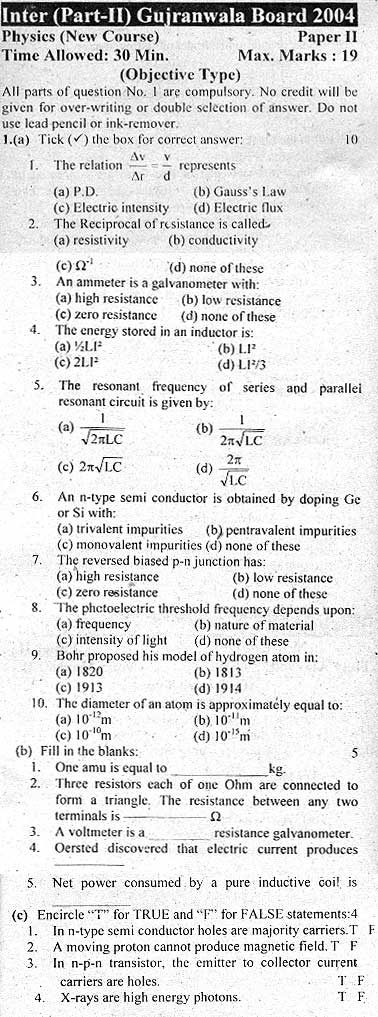 Inter Part II Physics Objective Gujranwala Board 2004