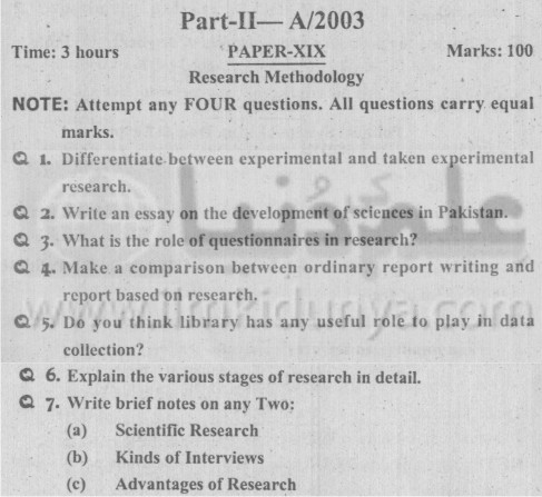 MA Political Science Part II Research Methodology Paper XIX PU 2003
