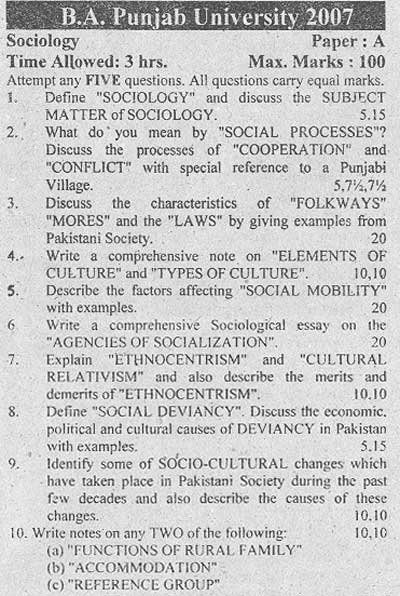 B.A. Sociology Punjab University 2007